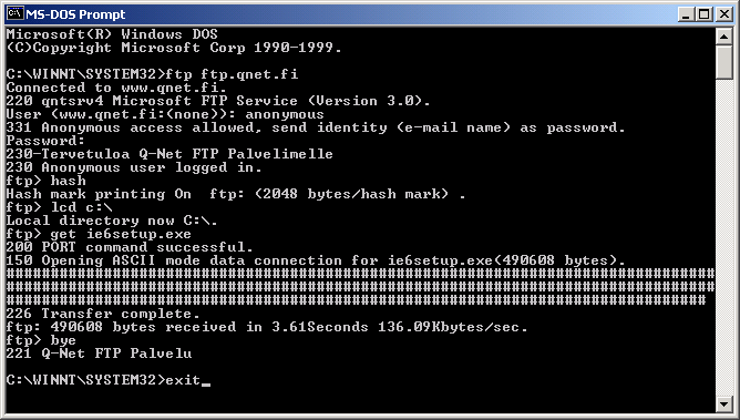 NetFAQs: Windows - FTP Clients - FTP Commands in DOS